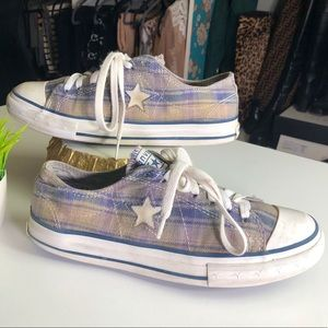 Converse All Star Plaid Low Top Sneakers Size 9